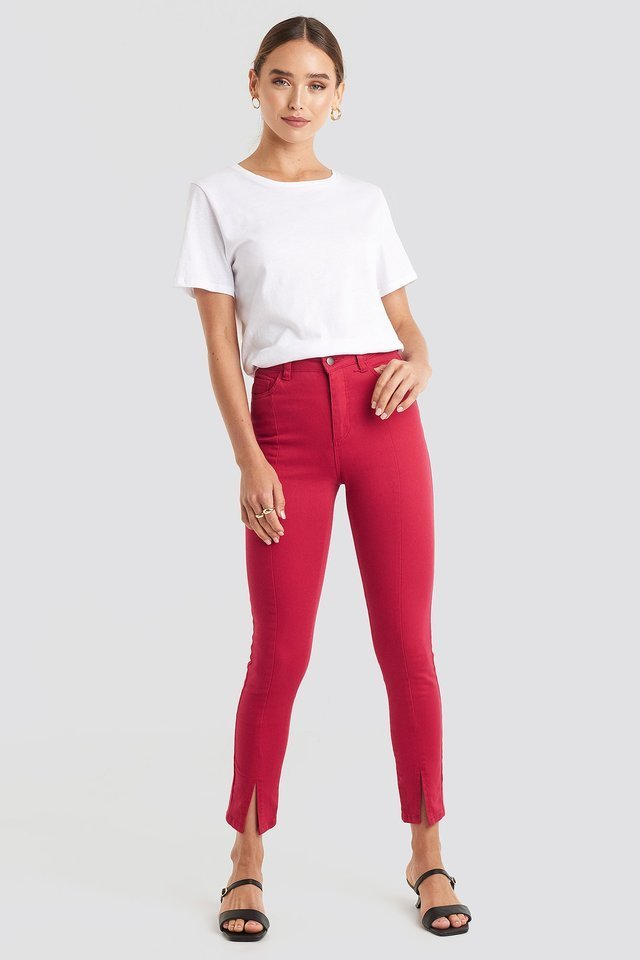 Highwaist Skinny Front Slit Jeans Red.