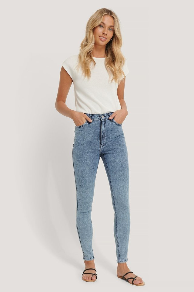 Stone Washed Skinny Jeans Blue.