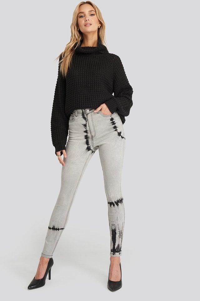 Tie Dye Skinny Jeans Grey.