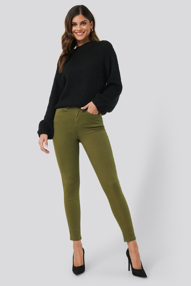 High Waist Skinny Denim Jeans Green.