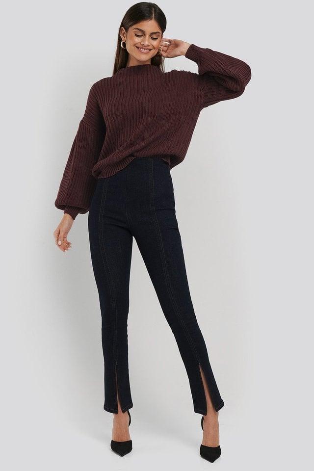 High Waist Front Slit Skinny Jeans Blue.