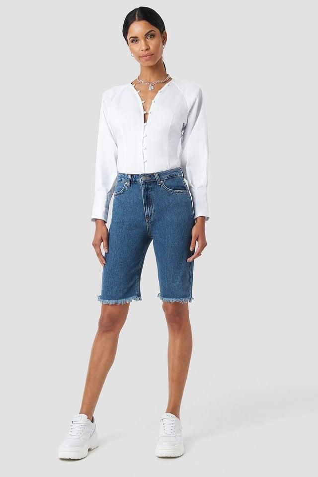 Highwaisted Raw Hem Denim Shorts Outfit.