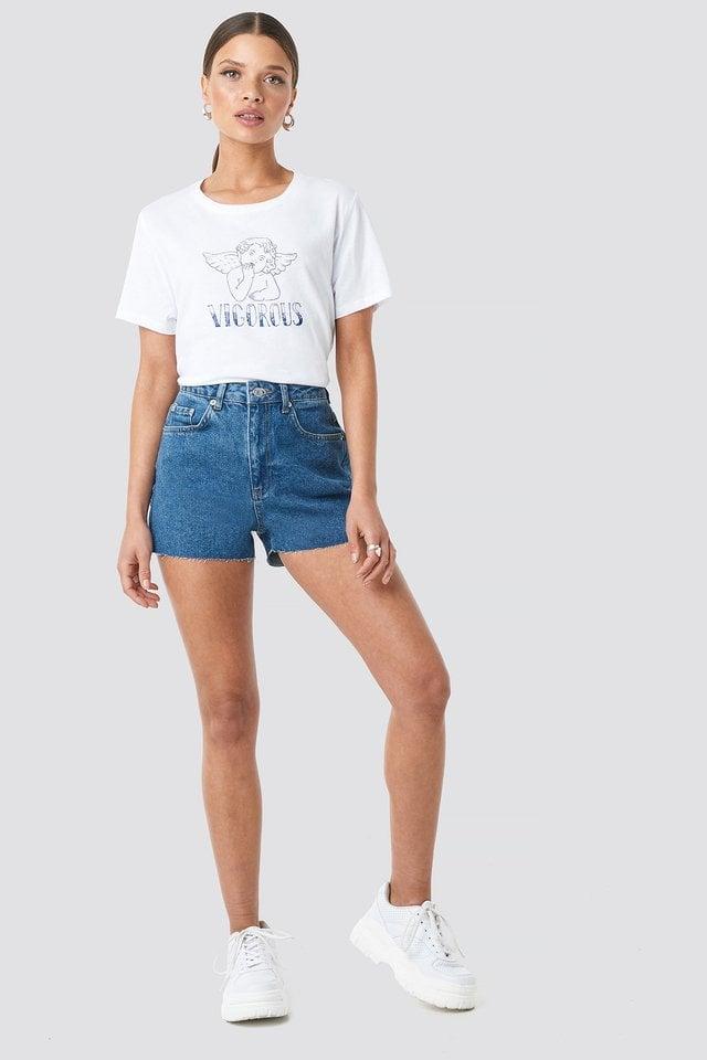 Raw Hem High Waist Denim Shorts Outfit.