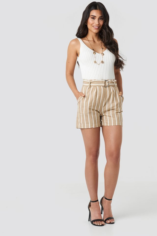 Linen Look Striped Shorts Outfit.