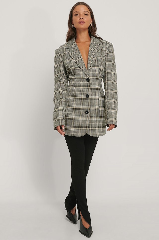 Gathered Check Blazer Outfit.