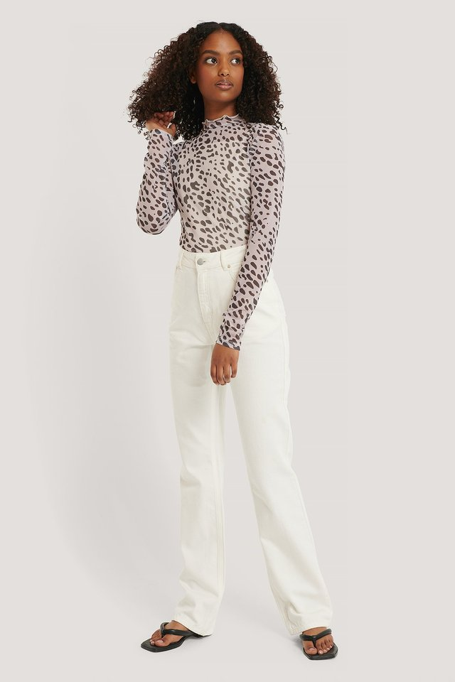 Printed Mesh Polo Top Outfit.