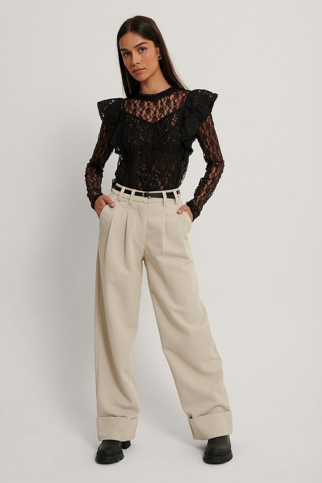Long Sleeve Flounce Shoulder Lace Top Outfit.