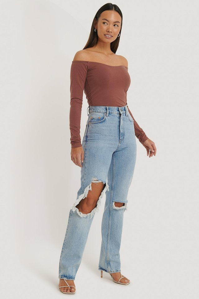 Jersey Off Shoulder Top Outfit.