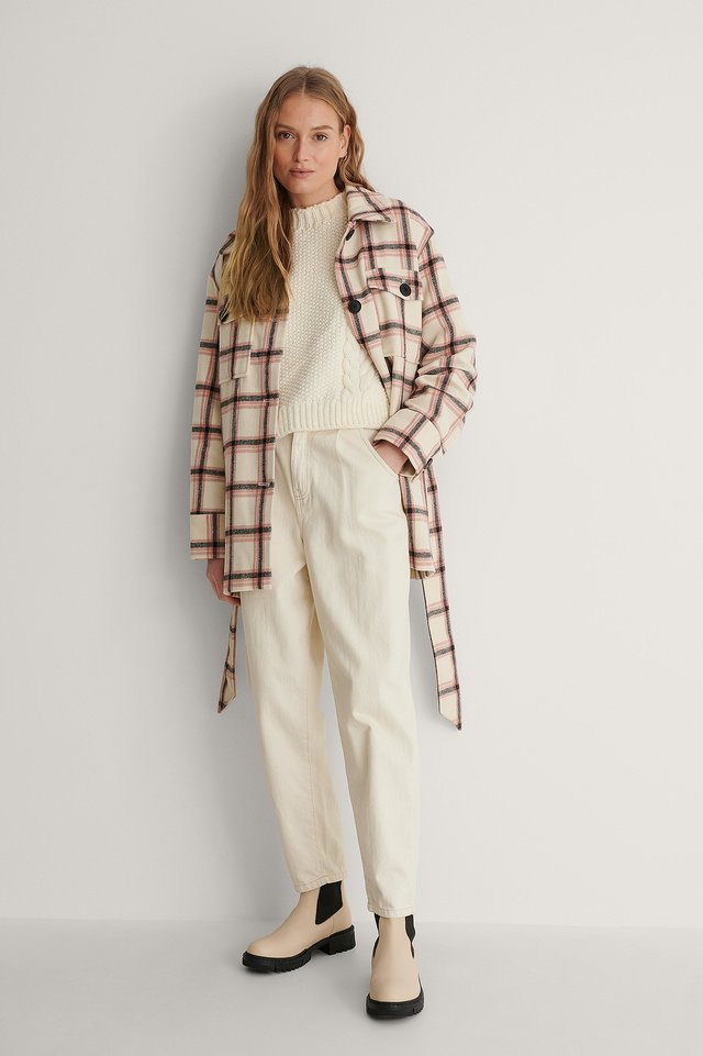 Belted Checked Jacket Outfit.