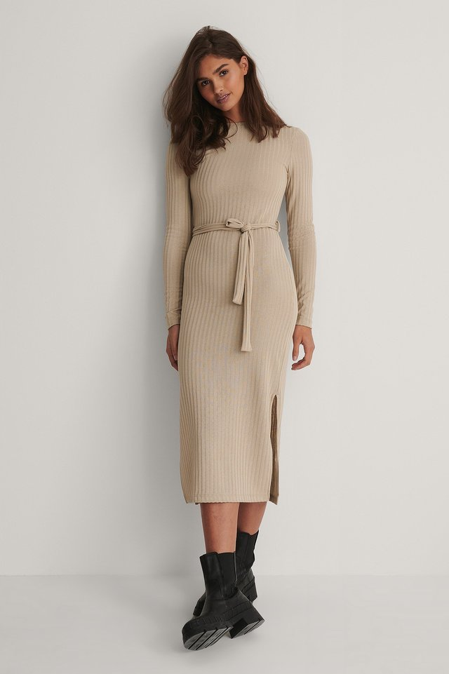 Ribbed Belt Dress Outfit.