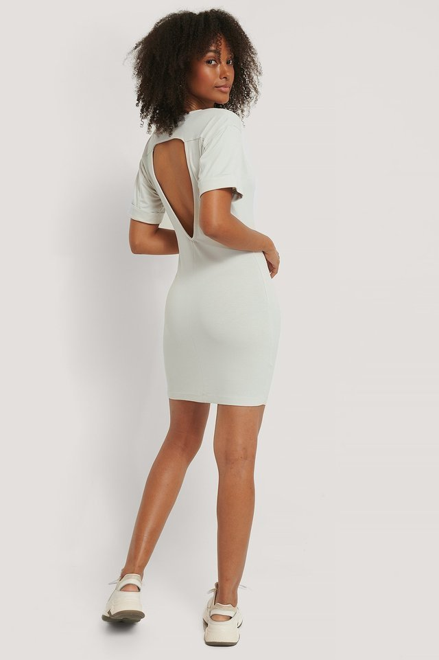 Open Back Jersey Dress Outfit.