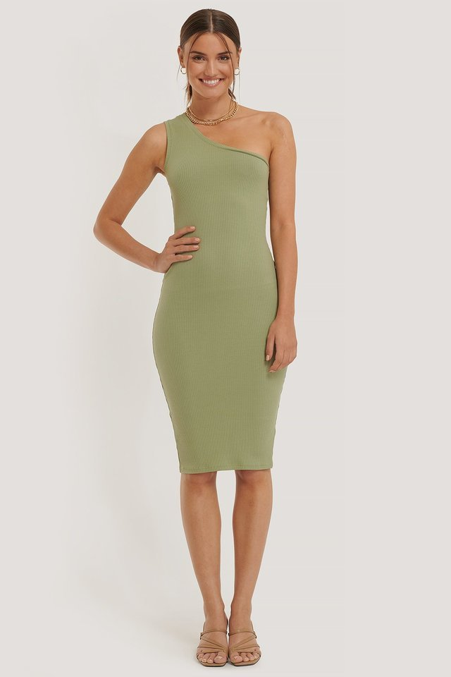 One Shoulder Rib Dress Outfit.