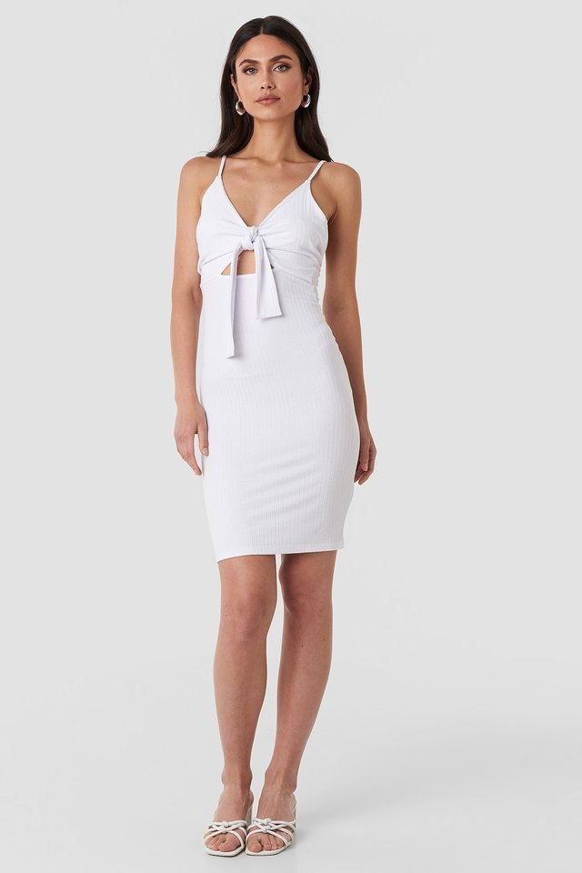 White Tie Front Ribbed Midi Dress