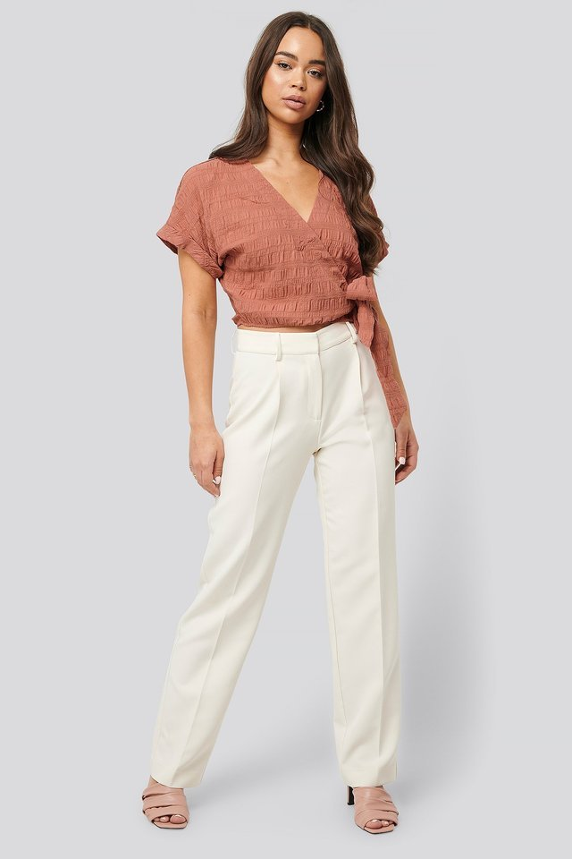 Structured Overlap Blouse Outfit.