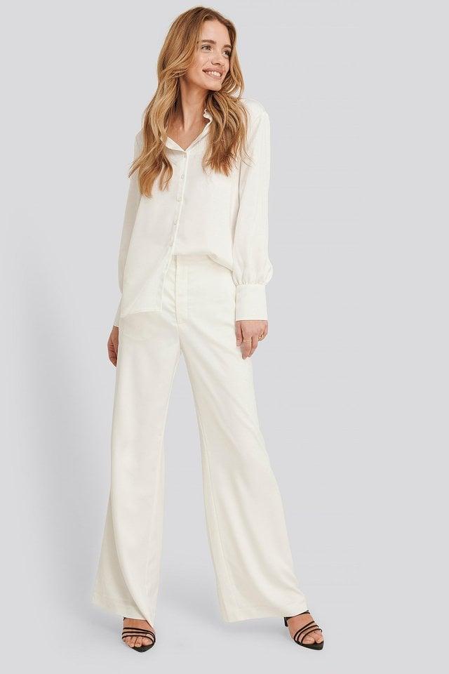 Jessie Satin Shirt Outfit.