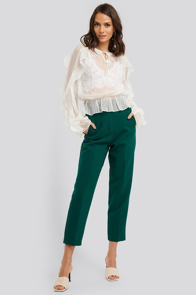 Flounce Sleeve Shirred Blouse Outfit.