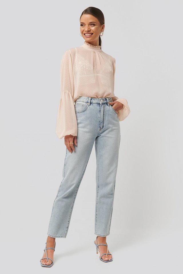 High Neck Balloon Sleeve Blouse Outfit.