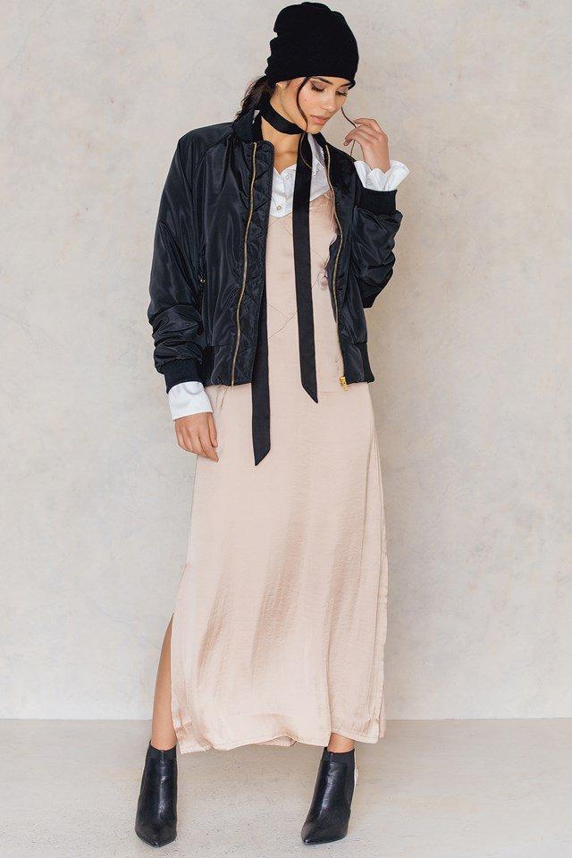 Dusty Dark Pink Deep V Asymmetric Cut Dress