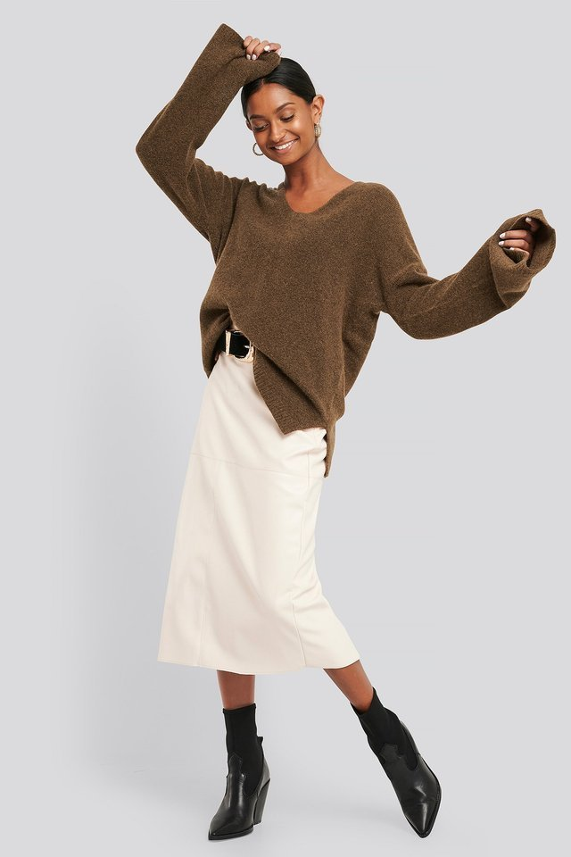 Alpaca Knitted V-Neck Sweater Outfit.