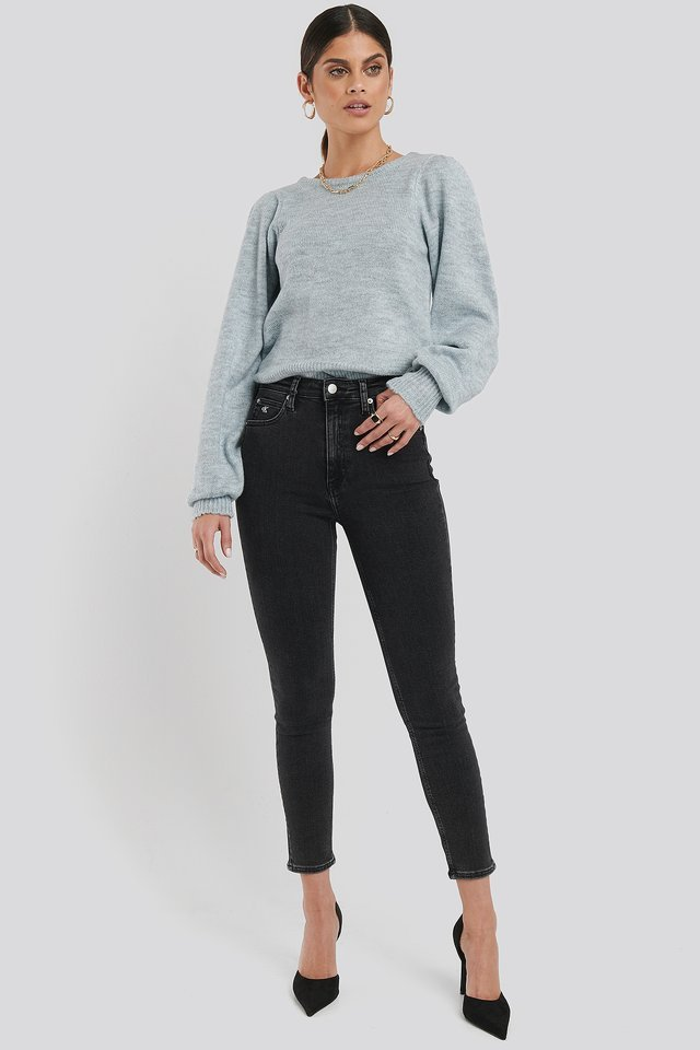 Back Overlap Puff Sleeve Knitted Sweater Outfit.