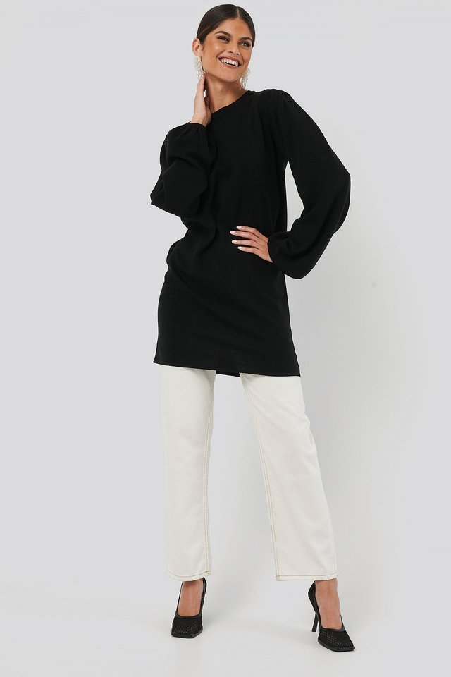 Balloon Sleeve Knitted Long Sweater Outfit.