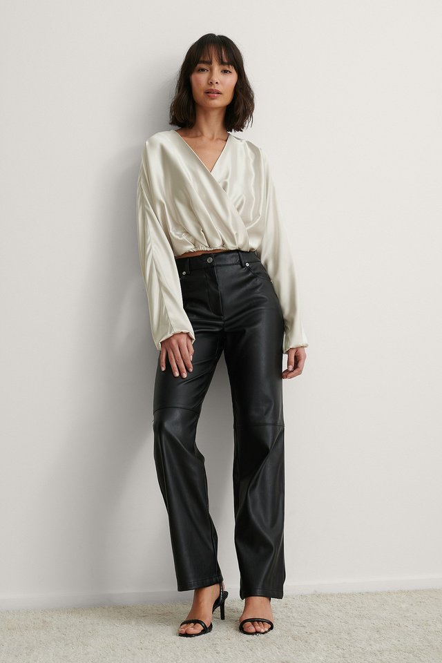 Overlap Satin Blouse Outfit.