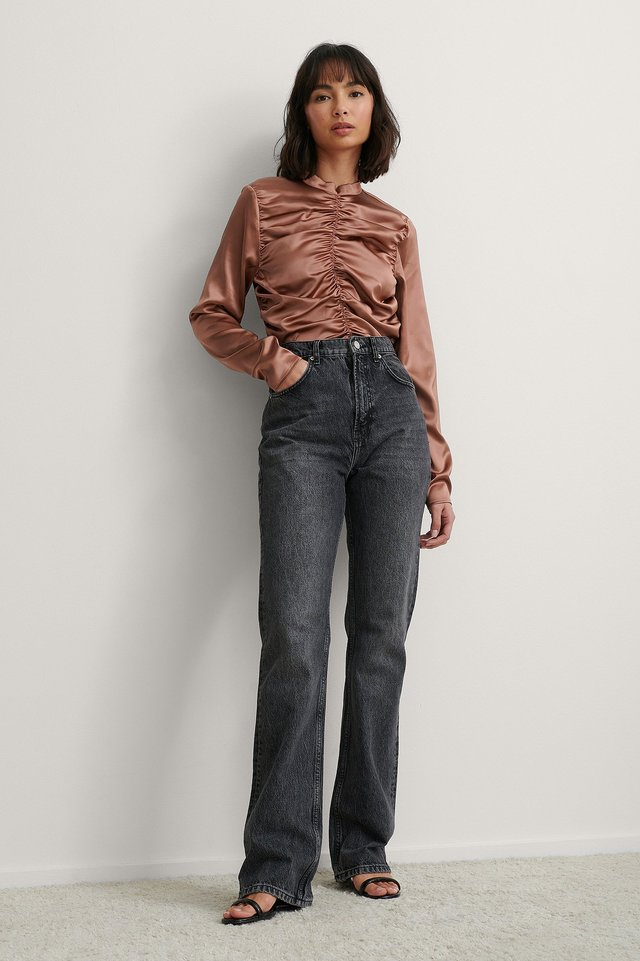 Ruched Satin Blouse Outfit.