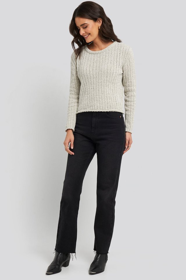 Bike Collar Chenille Sweater Outfit.