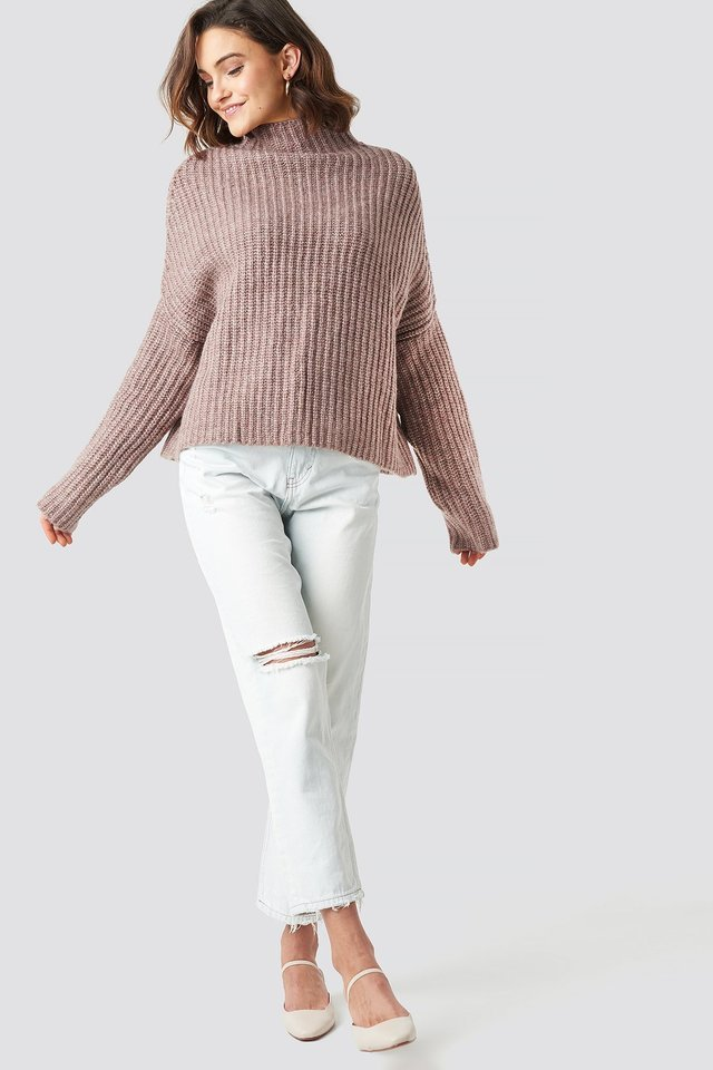 Boxy High Neck Knitted Sweater Outfit.