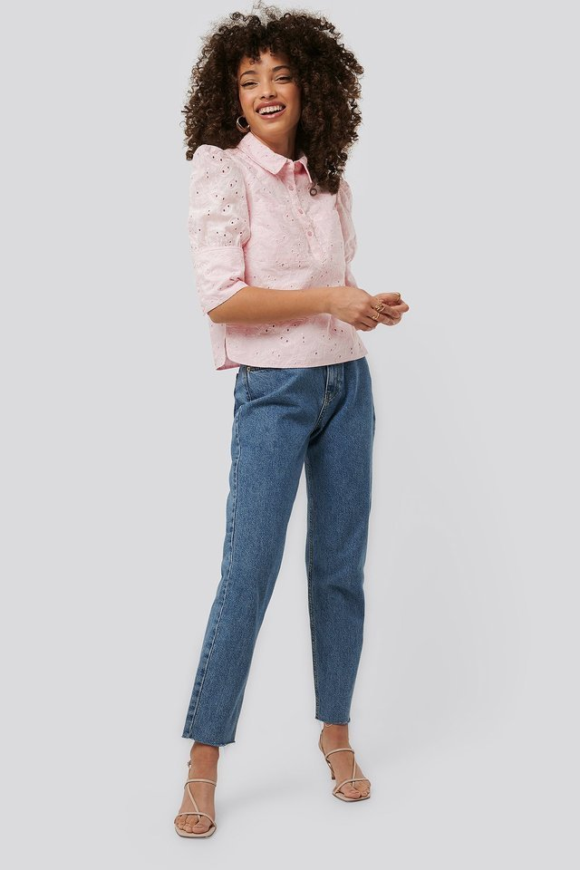 Puff Sleeve Anglaise Blouse Outfit.