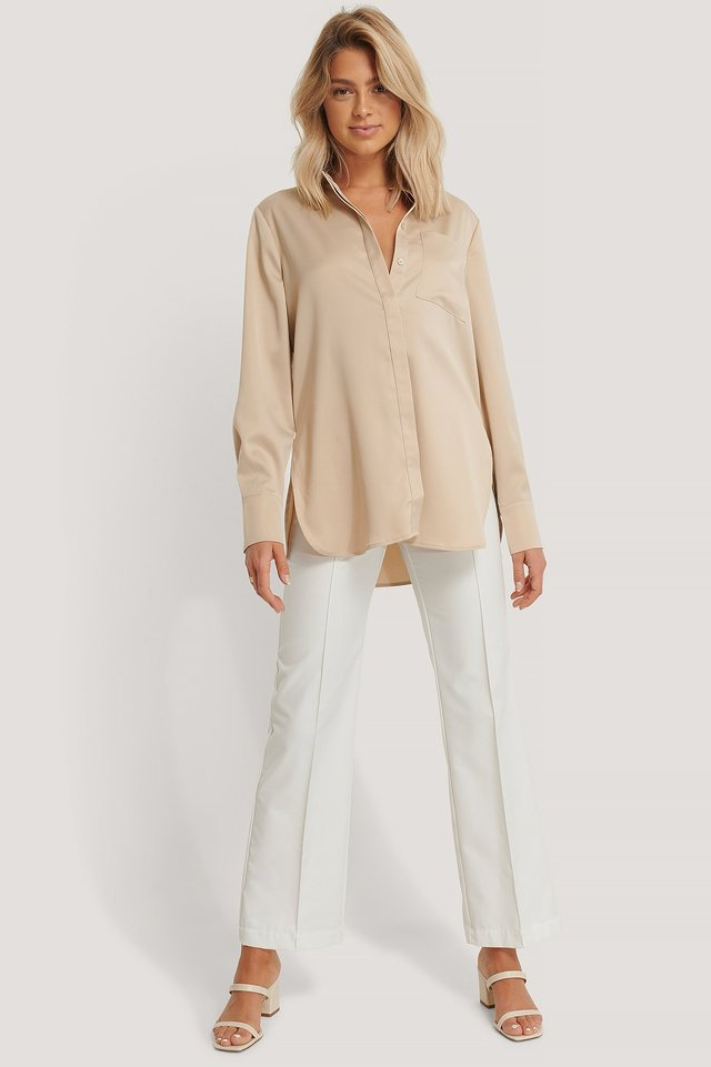 Satin Pocket Blouse Outfit.