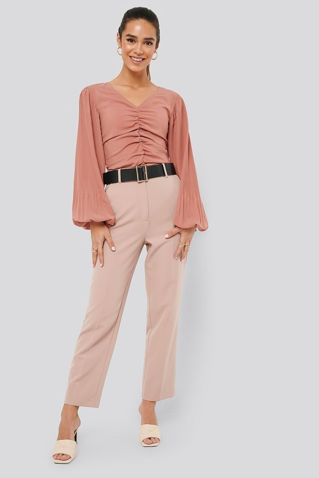 Whiskey Rose Draped V Front Neck Blouse