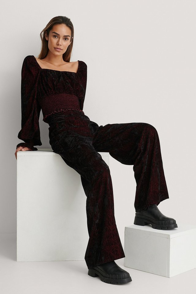 Velvet Wide Pants Outfit.