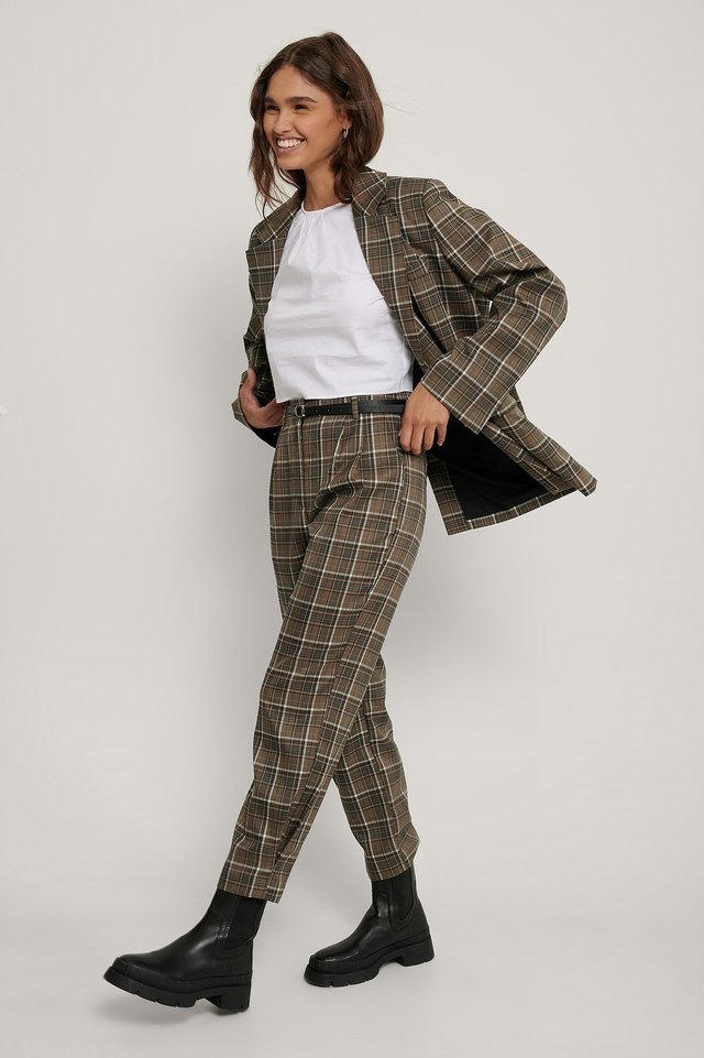 Checked Ankle Suit Pants Outfit.