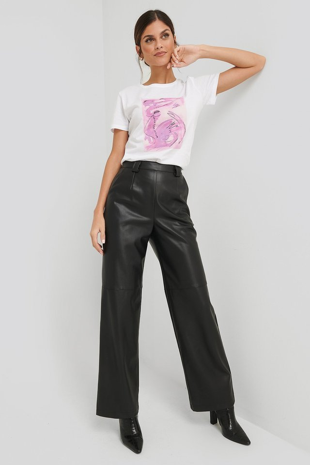 Abstract Art Printed Basic Tee Outfit.