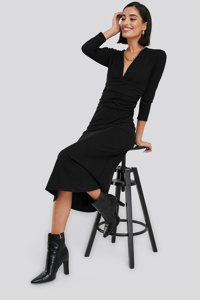 Deep V Waist Detail Dress Outfit.