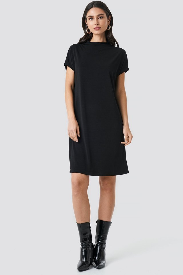 Black Jersey Cap Sleeve Dress