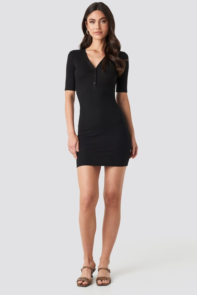 Ribbed Short Sleeve Dress Outfit.