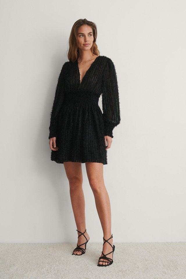 Fringe Smock Waist Dress Outfit.