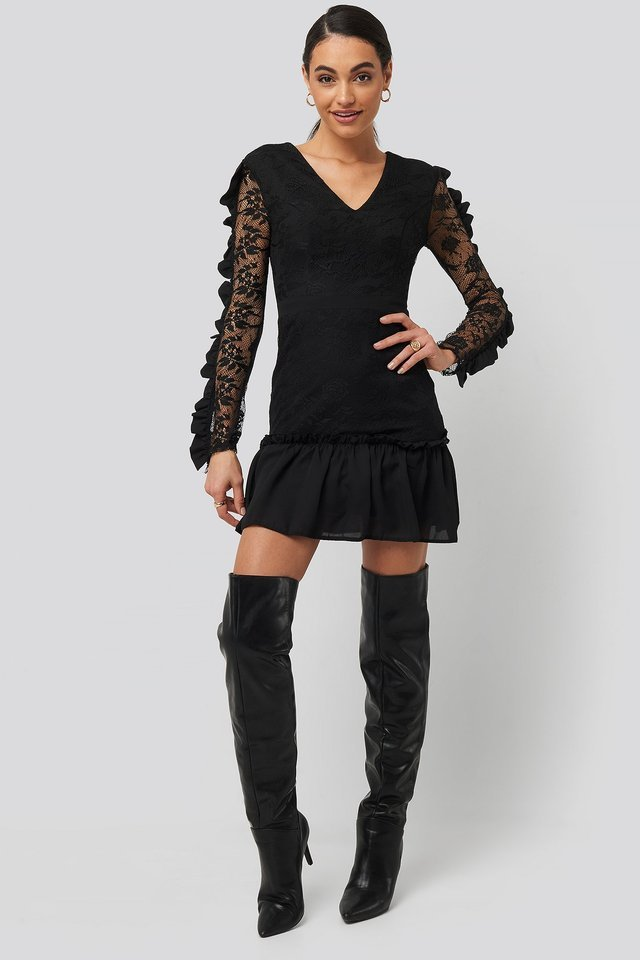 Frilly Lace Sleeve Mini Dress Outfit.