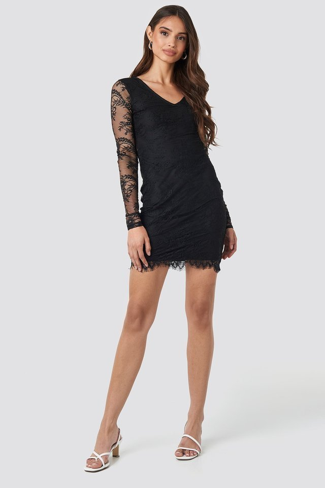 V-Neck Long Sleeve Lace Dress Outfit.