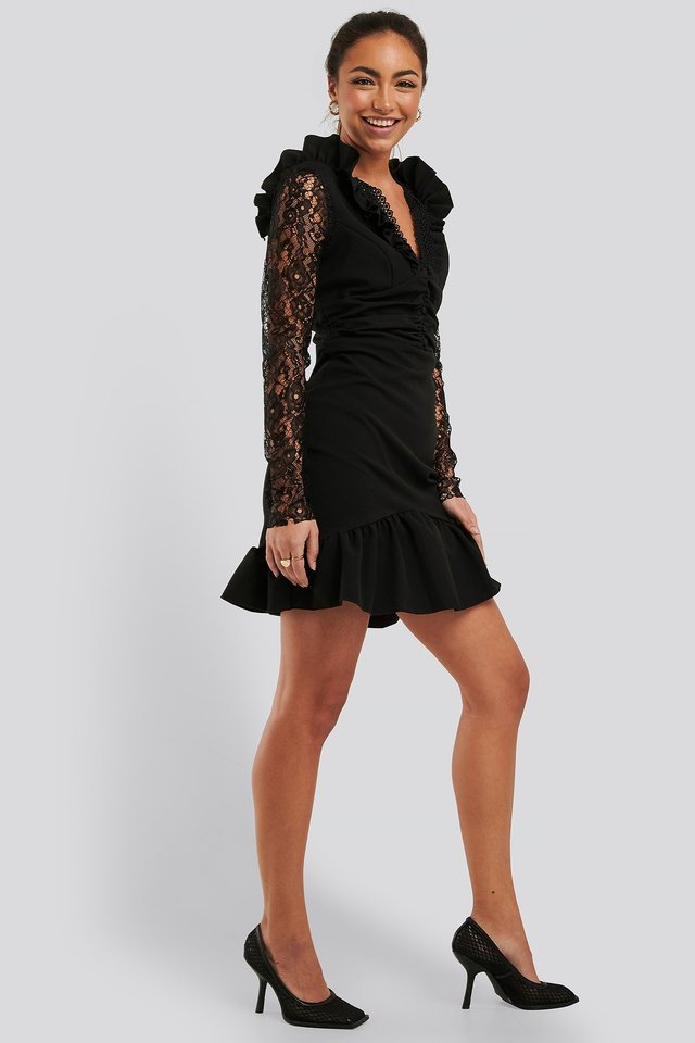 LS Lace Mini Dress Outfit.