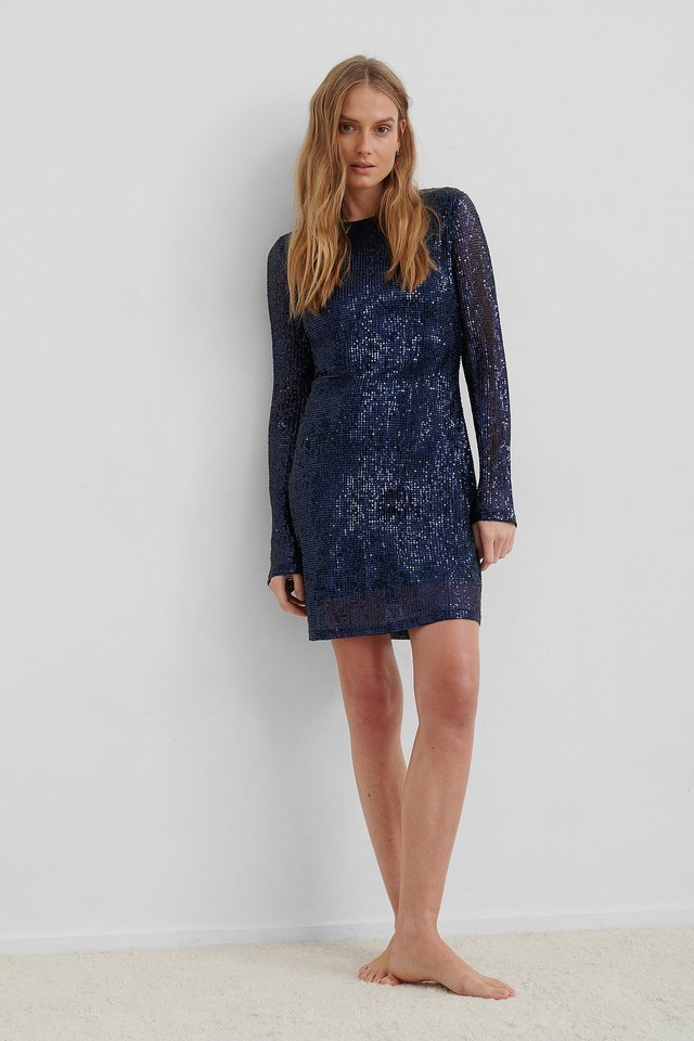 Sequin Round Neck Mini Dress Outfit.