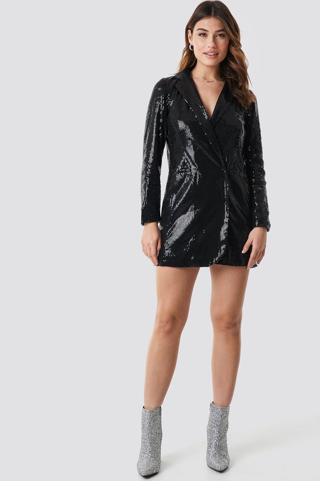 Sequin Dress Jacket Outfit.
