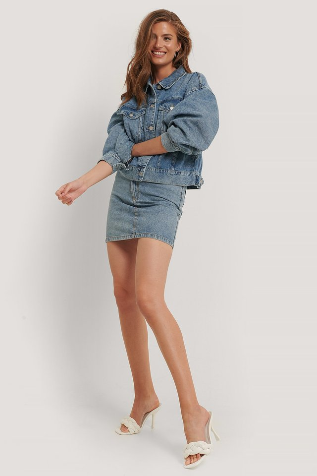 Organic Cotton Asymmetric Denim Skirt Outfit.