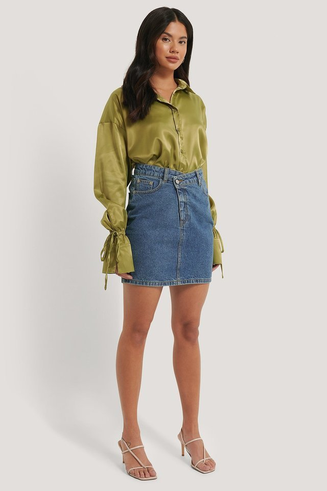 Organic Cotton Asymmetric Denim Skirt Outfit.