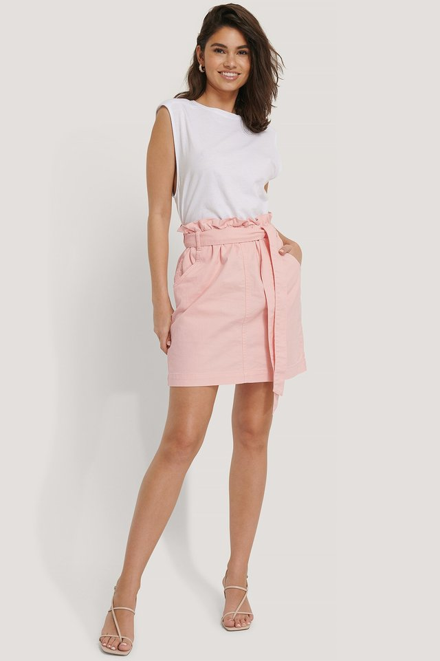 Paper Bag Waist Denim Mini Skirt Outfit.