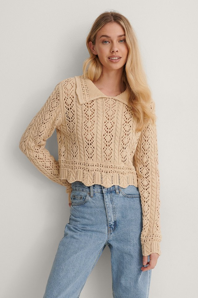Pattern Knit Collar Detail Sweater Outfit.