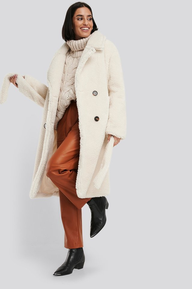 Belted Long Teddy Coat White.