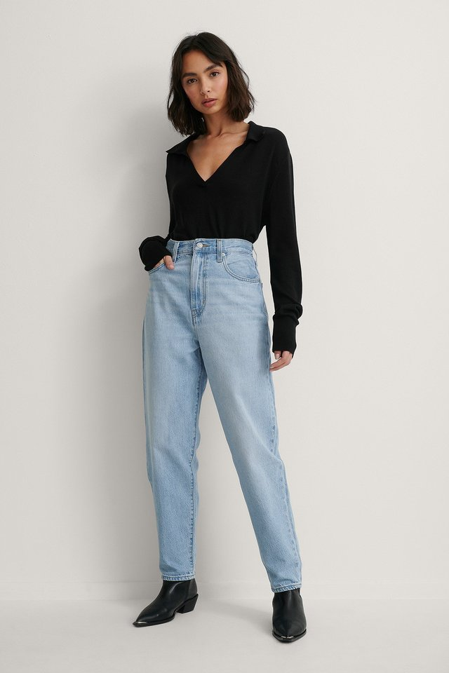 High Loose Taper Jeans Near Sighted Blue.
